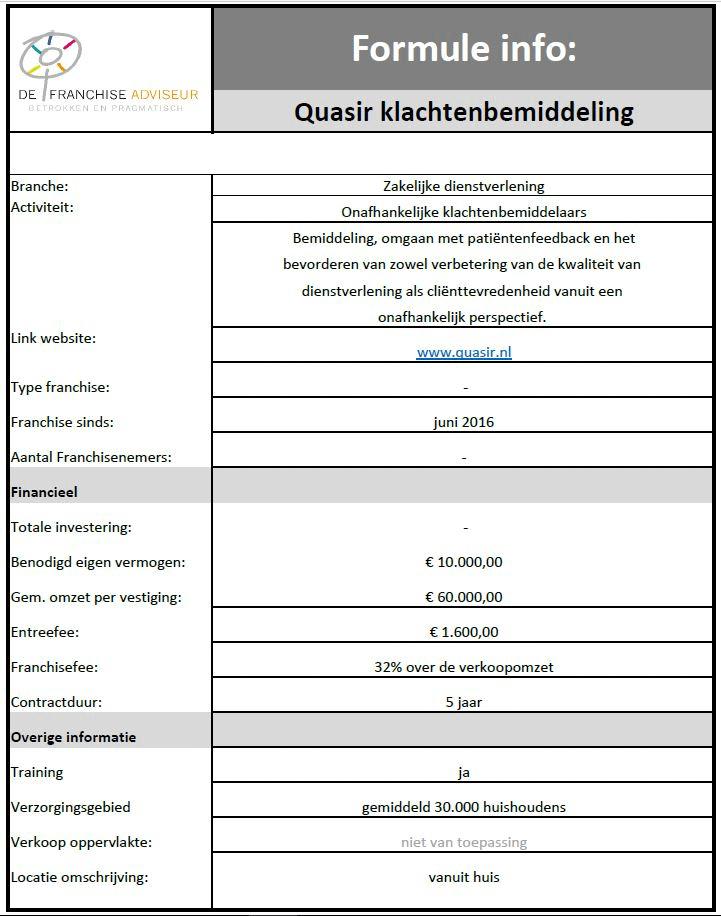 Formule info Quasir
